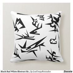 Black And White Abstract Art Cushion Pillow