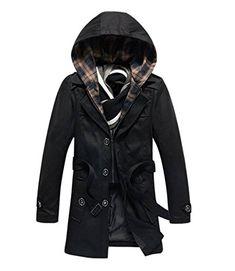 Pivaconis Mens Fleece Lined Warm Winter Loose Fit Parkas Down Jacket Coat