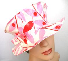 ladies Rain Hat - Travel Hat - Laminated Cotton with Organic Cotton Lining -Pink Red Leaves - Hazel Floretta