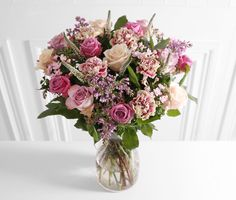 Luxury Rose & Lilac -  4 Talea Rose • 5 Cool Water Rose • 4 Memory Lane Rose • 4 Lilac Syringa • 4 Pink Bouvardia • 6 White Veronica • 5 Antigua Carnation • 5 Rosemary • 6 Eucalyptus Robusta