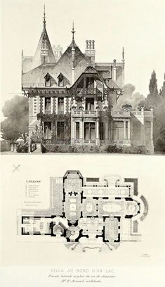 Sahar Sharaky saved to Architecture and plan for lakeside villa, France ARCHI/MAPS : Victorian Architecture, Architecture Old, Historical Architecture, Architecture Details, Victorian House Plans, Vintage House Plans, Victorian Homes, Architecture Mapping, Architecture Drawings