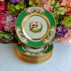 10 Vintage Myott Porcelain Luncheon Plates Chelsea Cockatrice Bird Green Gold #Myott