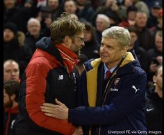 Jurgen Klopp manager of Liverpool and Arsene Wenger manager of Arsenal shake hands before the Barclays Premier League match between Liverpool and Arsenal at Anfield on January 2016 in Liverpool,. Juergen Klopp, Arsene Wenger, Barclay Premier League, Liverpool Fc, Liverpool England, Premier League Matches, Shake Hands, Arsenal, Canada Goose Jackets