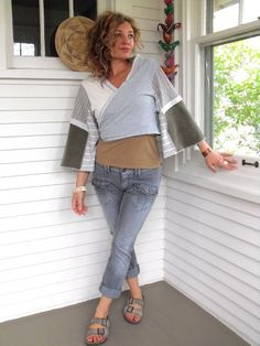 Upcycled Clothing patchworkEco Cropped Artisan Wrap by zasra
