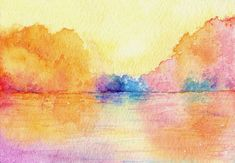 Watercolor Impressionism | watercolor painting autumn reflections impressionist seascape art ...