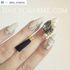 #Repost @daily_charme with another gorgeous pairing of our wraps and their charms! --- The prettiest pairing of marble and crystals!  Gorgeous marble nail wrap by @appliq accented with handmade Swarovski crystal charm by @beverly.glamour.nail.by.kiyoco.  Used Presto's matte top coat to give the wraps a matte finish.  This beautiful Black Diamond Tassel charm is available for pre order at DailyCharme.com link in profile