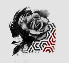 Luigigala.tattoo Tattoo Trash, Trash Polka Tattoo, Rose Tattoos, Flower Tattoos, Tatuaje Toy Story, Trash Polka Art, Old School Rose, Japanese Tattoos For Men, Cool Forearm Tattoos
