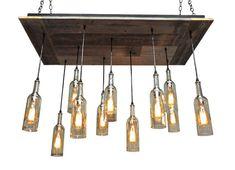 Oversized Reclaimed Wood Wine Bottle Chandelier -  Dining Room Lighting, Wine Bar Lighting