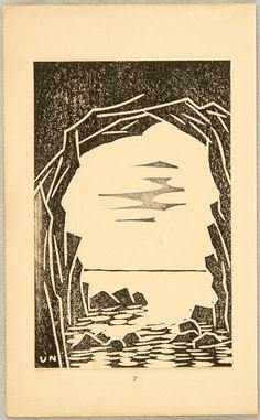 Seashore Cave Pre W.W.II Unichi Hiratsuka  1895-1997 Printed 1931 Artelino