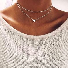 1.58 - Awesome Silver Gold Color Jewelry Love Heart Necklaces  amp   Pendants Double Chain Choker 96e30b0699a97