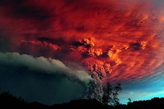 The dramatic effects of huge volcanic ash clouds being shot through by fierce lightning bolts at the Puyehue eruption in Chile.