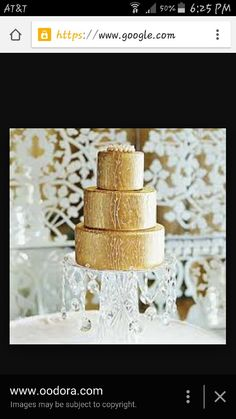 Gold wedding cake with crystal decorations