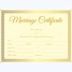 Marriage Certificate GLD) - Get high quality, professionally designed template. Templates are available in Word & PDF Formats. Wedding Certificate, Marriage Certificate, Certificate Design, Certificate Templates, Happy Marriage, Marriage Advice, Marriage Records, Certificate Of Appreciation, Divorce Papers