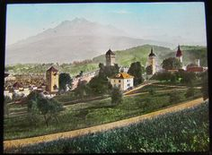 Glass Magic lantern slide LUCERNE AND PILATUS NO2 C1900 SWITZERLAND