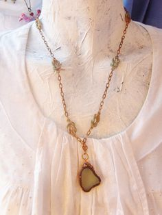 SEA GLASS PENDANT Pale Aqua real thick by TheEnglishEclectic, $45.00