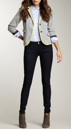 Smart office outfits ideas with blazer 16 Office Fashion, Work Fashion, Cool Outfits, Casual Outfits, Fashion Outfits, Summer Outfits, Look Formal, Outfits Mujer, Blazer Outfits