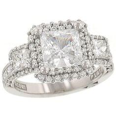 Tacori Blooming Beauties Three Stone Princess Engagment Ring