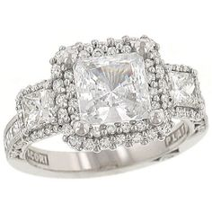Tacori Blooming Beauties Three Stone Princess Engagment Ring