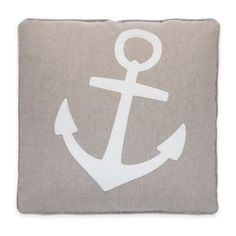 Provincetown Anchor Applique Square Throw Pillow in Grey - BedBathandBeyond.ca