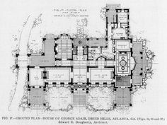 Floor plan of the Adair Residence, Atlanta Architecture Mapping, Architecture Old, Historical Architecture, Residential Architecture, Architecture Details, Mansion Plans, Architectural Floor Plans, Architectural Drawings, Vintage House Plans