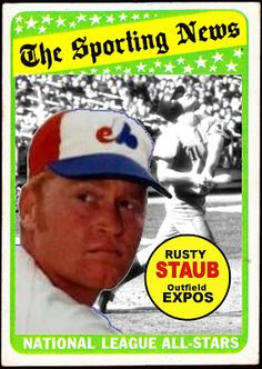 1969 Topps Rusty Staub All Star, Montreal Expos, Baseball Cards That Never Were. Expos Baseball, Baseball Park, Baseball Season, Baseball Games, Baseball Players, Baseball Stuff, Montreal, Rusty Staub, Old Baseball Cards