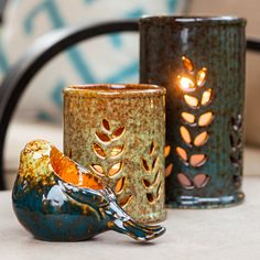 For a flicker of warmth at night, accessorize sitting areas with tabletop ceramic lanterns . Pottery Pots, Slab Pottery, Ceramic Pottery, Chandeliers, Ceramic Lantern, Hand Built Pottery, Backyard Retreat, Lanterns Decor, Pottery Designs