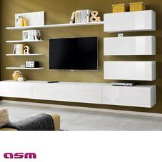 Vente privée de Ensemble suspendu - meuble TV + 5 étagères + 3 rangements - blanc  sur Brico Privé