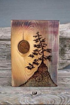 Ancient Tree – Art Block – Woodburning Done with a wood burner and a piece of wood with a beautiful knot…AWESOME! Wood Burning Crafts, Wood Burning Art, Wood Crafts, Diy And Crafts, Wood Burning Projects, Art Bloc, Deco Nature, Woodworking For Kids, Woodworking Projects