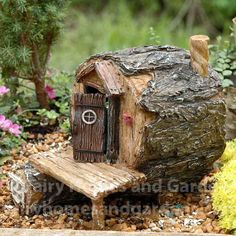 Hollow - small house fairy garden -Fairy Hidden Hollow - small house fairy garden - Log Fairy House - view 1 More Miniature Daisy Diner Special Offer- two delightful Enchant Fairy Tree Houses, Fairy Village, Fairy Crafts, Garden Crafts, Garden Art, Garden Ideas, Fairy Garden Houses, Fairy Gardening, Indoor Gardening