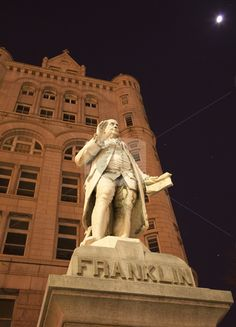 Benjamin Franklin Statue Old Post Office Building Pennsylvania Ave Washington DC with stars, planets, moon and orion constellation in the background Philadelphia, Hotel Pennsylvania, Carnegie Museum Of Art, Old Post Office, Independence Hall, Best Vacation Destinations, Paul Rudd, American Symbols, Amish Country