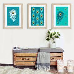 3 affiches plumes de paon bleu turquoise orange, alexiableu, cadeau femme, cadeau collègue, cadeau déco, tendance plume, plume de paon, tendance 2017, tendance 2018