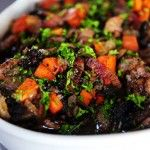 Coq au Vin:  You'll love this dish. It will make your house smell divine, and make you feel like you're eating something extra special, whether you make it for yourself or a table full of friends. And it's not difficult to make.