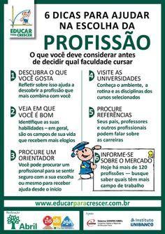 Cartaz: 6 dicas para ajudar na escolha da profissão