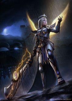 f Paladin Plate Armor Cloak Crown Greatsword female Temple Hills Night rain lg Fantasy Female Warrior, Fantasy Girl, Dark Fantasy, Final Fantasy, Warrior Girl, Warcraft Characters, Fantasy Characters, Female Characters, World Of Warcraft Game