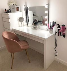 It's really a dressing table – with space for make-up and jewellery inside. Ikea Dressing Room, Corner Dressing Table, Dressing Table With Mirror And Lights, Ikea Malm Dressing Table, White Dressing Tables, Cute Bedroom Decor, Room Ideas Bedroom, Stylish Bedroom, Beauty Room Decor