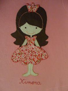 with a few tweaks could be a ballerina? Applique Quilts, Embroidery Applique, Applique Tutorial, Patchwork Baby, Felt Quiet Books, Diy Presents, Felt Patterns, Girls Quilts, Felt Dolls