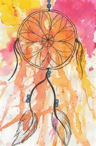 Dream catcher watercolour | so simple, you could just use a permanent marker for the dream catcher on top ❤