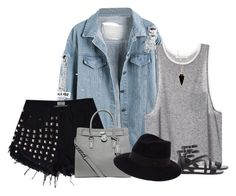 """""""Denim jacket (outfit only)"""" by blueeyed-dreamer ❤ liked on Polyvore featuring Heather Hawkins, MICHAEL Michael Kors, Forever 21 and Maison Michel"""