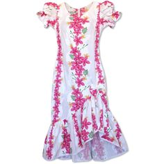 Kuulei White Makani Hawaiian Muumuu Dress   #floraldress #hawaiiandress