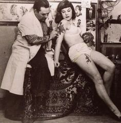 Thankfully the act of tattooing has gotten far more comfortable since the early days. #Vintage #tattooed #lady #woman #tattoos #classic #InkedMagazine
