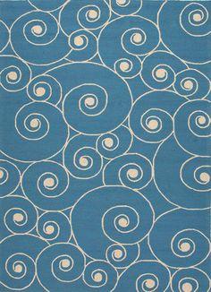 Coastal Lagoon Nautilus Blue/White Area Rug