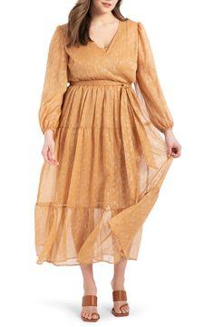 ELOQUII Metallic Tiered Long Sleeve Maxi Dress (Plus Size)   Nordstrom Long Sleeve Maxi, Maxi Dress With Sleeves, Plus Size Maxi Dresses, Plus Size Outfits, Prarie Dress, Gauze Dress, Picture Outfits, Ladies Dress Design, Plus Size Women
