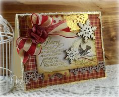 Hand stamped card by Julee Tilman using the Richly Blessed set from Verve. #vervestamps   Christmas cards