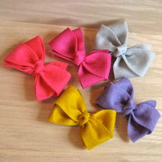 2 FELT Bobby Boutique Bows - choose your colors - for all ages - bobby pin bow - felt bow. $5.00, via Etsy.