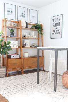 Mid-Century Bookshelf w/ Drawer – Acorn – Home Office Design Diy Home Office Design, Home Office Decor, Office Furniture, House Design, Home Decor, 60s Furniture, Mid Century Bookshelf, Home Living, Living Room