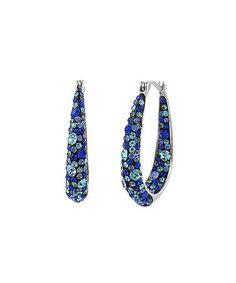 Look at this #zulilyfind! Blue & Silvertone Hoop Earrings With Swarovski® Crystals #zulilyfinds