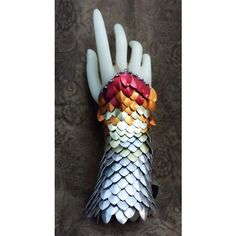 7 inch Dragon Skin Glove, Scale Half Gauntlet Phoenix fire Red,... ❤ liked on Polyvore featuring accessories, gloves, armor, jewelry, orange gloves and red gloves