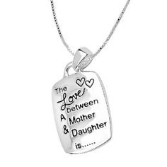 """Sterling Silver """"The Love Between A Mother And Daughter Is Complicated, Noisy, Tender, Strong, Affectionate, Funny and Forever"""" Reversible Pendant Necklace, 18"""", (moms gifts, mother and child jewelry, mothers day gifts, pendants)"""