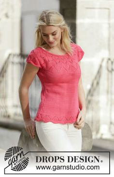 "Knitted DROPS top in stocking st with lace pattern and round yoke in ""Muskat"". Size: S - XXXL. ~ DROPS Design"