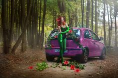#poison #ivy  #batman  #dc  #dcComics  #dc #comics #supergirl  #pinkcar #forest #green  #natural #cosplay